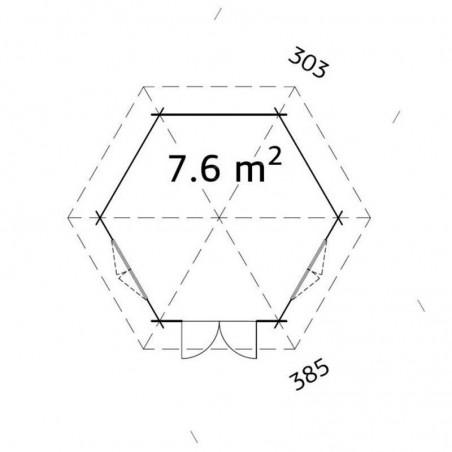Medidas pabellón Hanna 34 mm, 303 x 385 cm, 7.6 m²