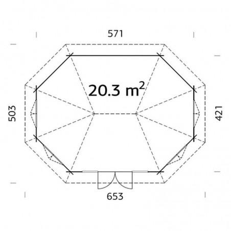 Medidas cenador Hanna 44 mm, 421x571 cm, 20.3 m²