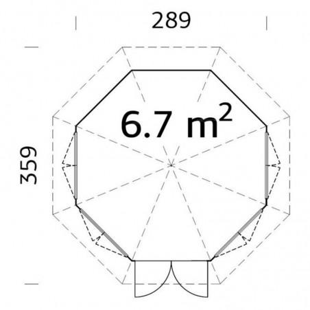 Medidas pabellón Verónica 4 28 mm, 289 x 289 cm, 6,7  m²