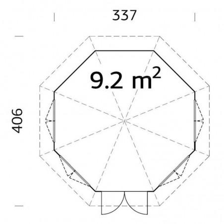 Medidas Verónica 4 34 mm, 337 x 406 cm, 9.2  m²
