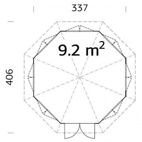 Medidas Verónica 7 34 mm, 337 x 406 cm, 9.2  m²