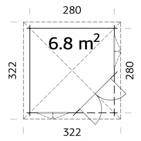 medidas cenador madera Melanie 28 mm, 332 x 280 cm, 6.8 m²