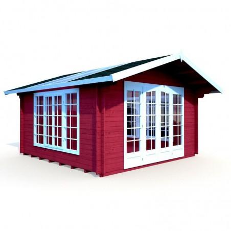 Caseta de madera con techo traslucido 34 mm, 400 x 400 cm 13,9 m²