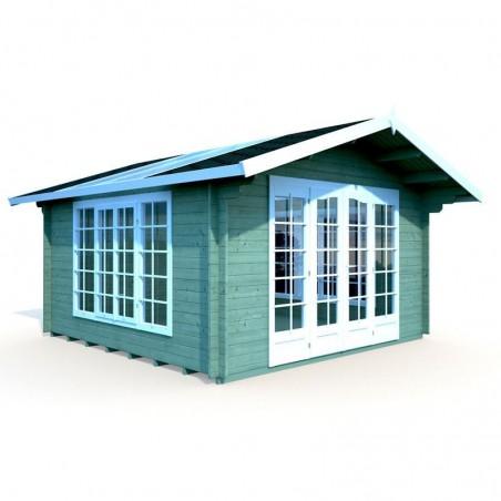 Caseta de madera con techo traslucido 34 mm, 400 x 400 cm 13,9 m². Caseta pintada color verde