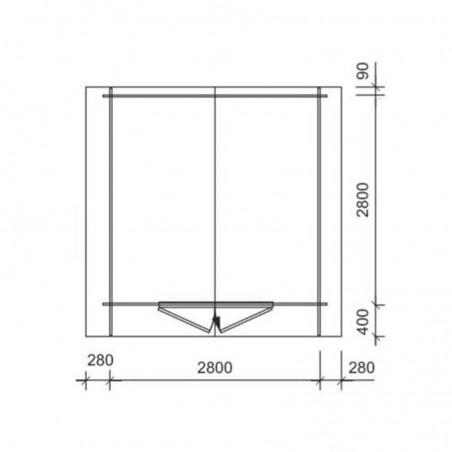 Medidas-Caseta madera Hofi - 3x3m - Sin Suelo