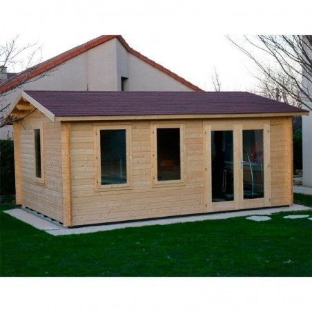 Caseta de madera 19m². Caseta habitable de madera. Habitación en el jardín