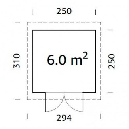 Medidas caseta de jardín Lara 28 mm, 250 x 250 cm. 6 m²