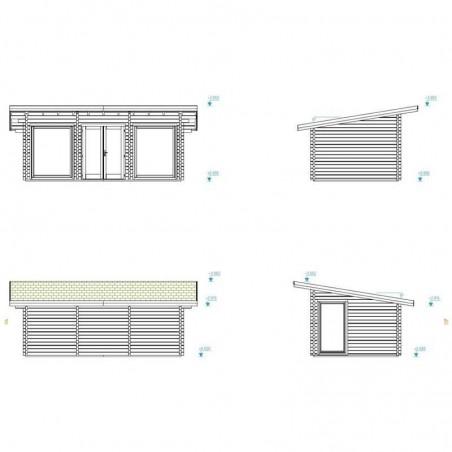 Medidas caseta de madera habitable 20 m2 Heidi de Palmako. Planos y medidas en Hortum