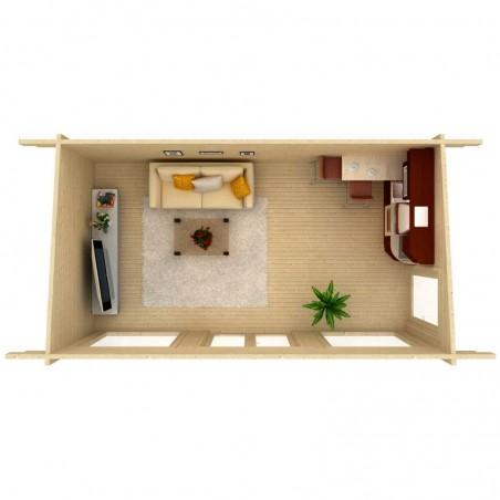 Interior caseta madera Heidi - Caseta con ventanales