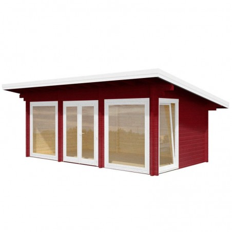 Estudio de madera Heidi, 70 mm, 640 x 360 cm.19,7 m². Color Rojo
