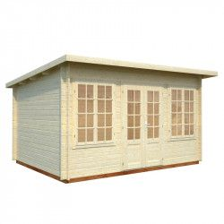 Oferta caseta de madera Lisa, 34 mm, 420 x 320 cm. 11,5 m²