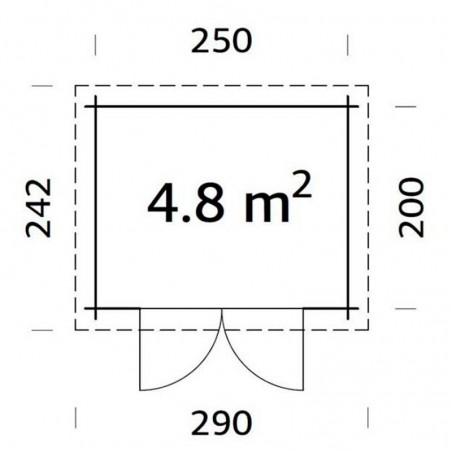 Medidas caseta madera Mary, 28mm, 270 x 220 cm, 4.8m²