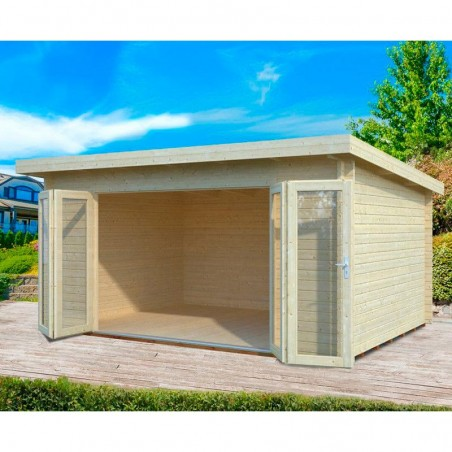 Caseta de Madera ideal para habitación de jardín. Amplios ventanales. Disponible en Hortum