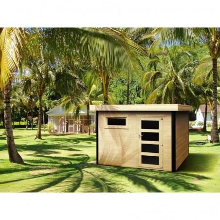 Caseta de madera con techo plano. Caseta con ventana frontal y puerta simple.