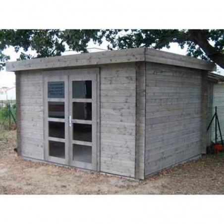 Caseta de madera Elsa 9,6m2 - Con tratamiento color Gris