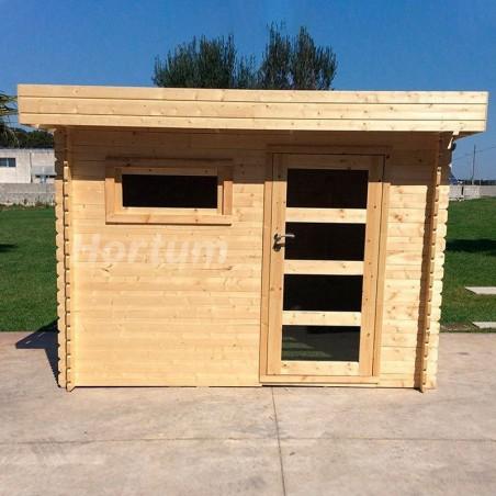 caseta de madera techo plano Plosireal