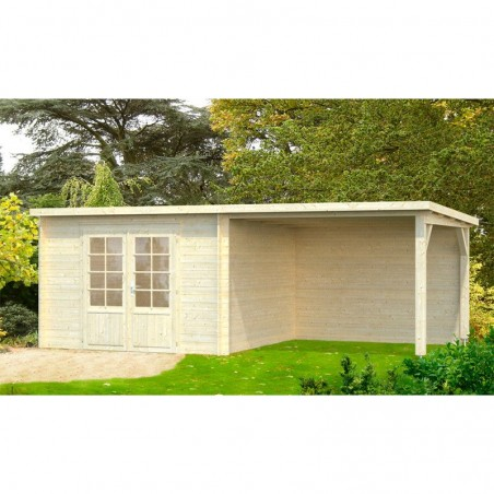 Caseta de madera con pérgola para jardín Ella 8,7 + 8,2 m²