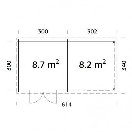 Medidas caseta madera Ella 28 mm, 610 x 320 cm. 8,7 + 8,2 m²