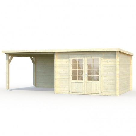 Caseta madera Ella 28 mm, 610 x 320 cm. 8,7 + 8,2 m²