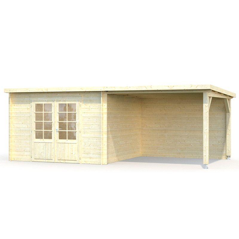 Caseta de Madera    Pérgola lateral   Ella 28 mm, 610 x 320 cm. 8,7 + 8,2 m²