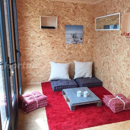 Interior - minicasa de madera habitable 16,70m² - 480x348cm