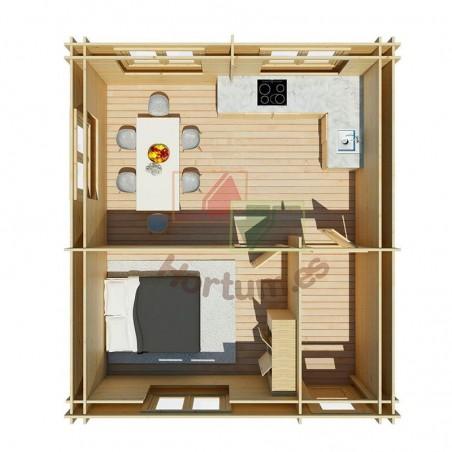 Interior casa de madera Onega