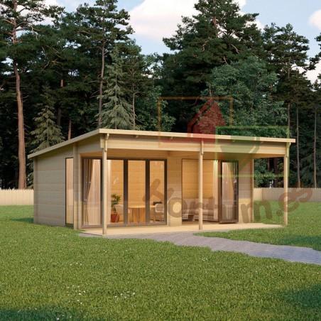 Casa de madera prefabricada Lena 44 mm, 516x616cm, 31m²