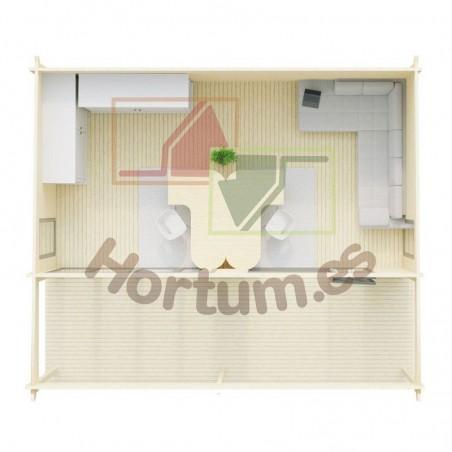Interior casa de madera  Lena 44 mm, 516x616cm, 31m²