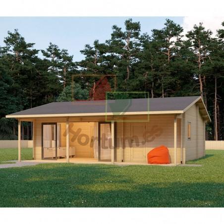 Casa de madera prefabricada Duero 44 mm, 800x800cm, 64 m²