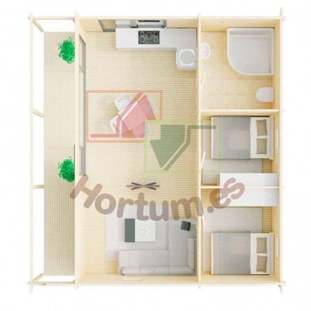 Interior casa madera Duero 44 mm, 800x800cm, 64 m²