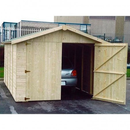 Garaje de madera prefabricado Brisa. 15mm 273x460cm. 12.57m²