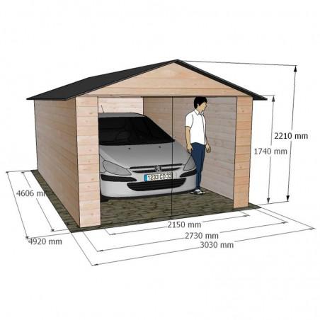 Medidas garaje de madera Brisa. 15mm 273x460cm. 12.57m²