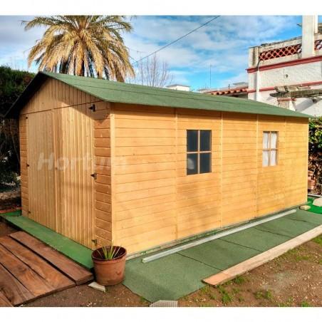 Garaje de madera Gapadan con tela asfáltica verde