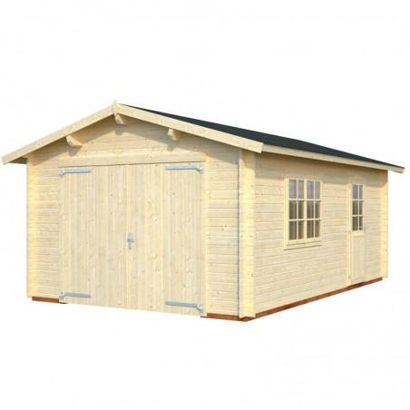 Garaje de madera con puerta cochera Mundaka de 380 x 570 cm. Palmako