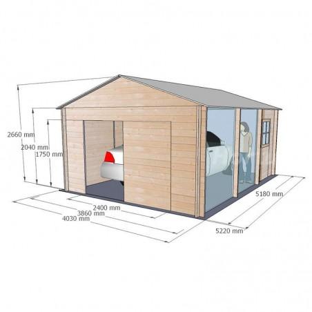 Medidas garaje Gravier  34 mm, 386 x 518 cm. 20 m²