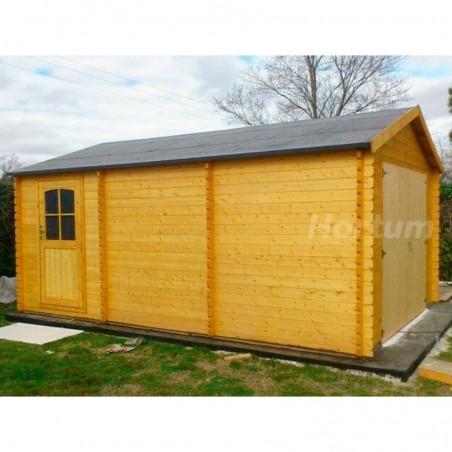 Garaje de madera prefabricado Gravier, 34 mm, 386 x 518 cm. 20 m²