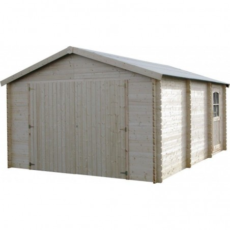 Garaje de madera Gravier, 34 mm, 386 x 518 cm. 20 m²
