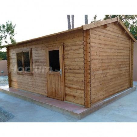 Garaje de madera con puerta  doble, ventanas abatibles y una puerta simple | Garaje Tony, 34mm, 350 x 520 cm, 17.50m²