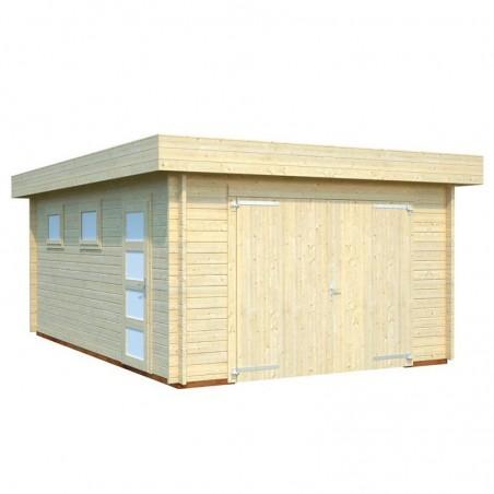 Garaje de madera Novel. 44 mm, 380 x 570 cm, 21.66 m² - Con puerta cochera