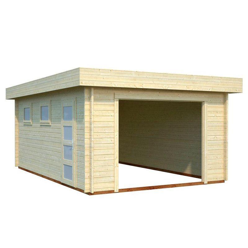 Garaje de madera Novel. 44 mm, 380 x 570 cm, 21.66 m² - Sin puerta