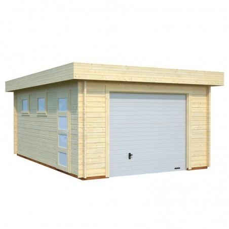 Garaje de madera Novel 44 mm, 380 x 570 cm, 19 m² con puerta basculante