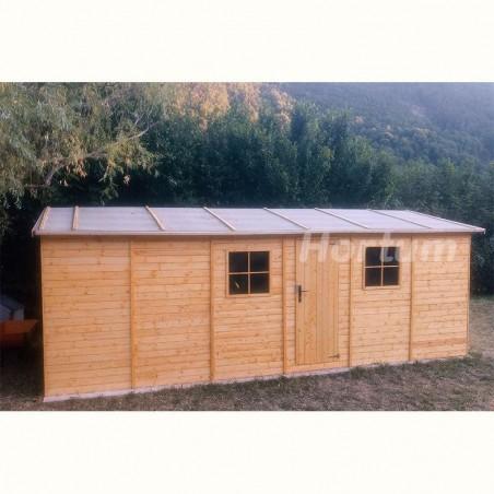 Garaje de madera Mikhail II, 19 mm, 300x600 cm, 18m² con tela asfáltica