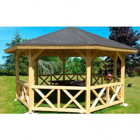 Cenador pérgola de madera Betty, 18 m²