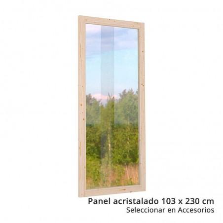 Panel acristalado para pérgola de madera Lucy
