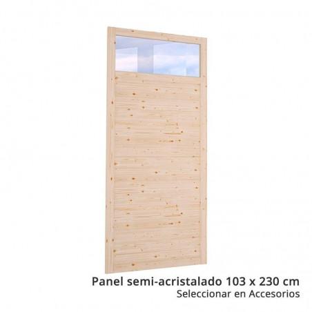 Panel semi-acristalado para pérgola de madera techada Lucy