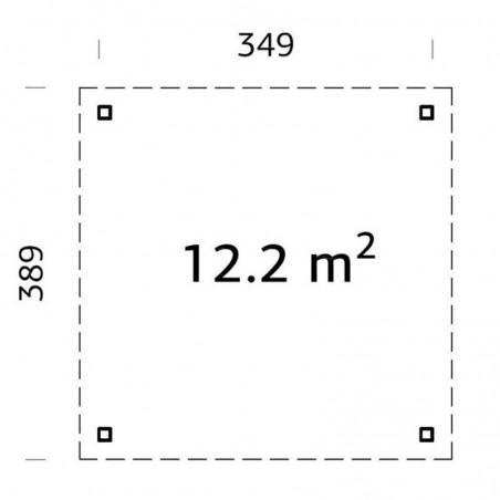 Medidas pérgola Lucy 349 x 349 cm. 12.2 m²