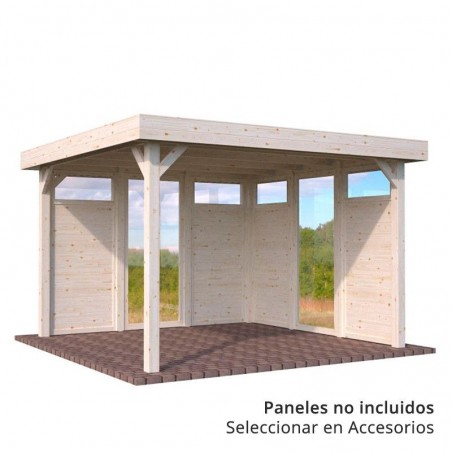 Pérgola de madera Lucy 349 x 349 cm. 12.2 m² | Con paneles