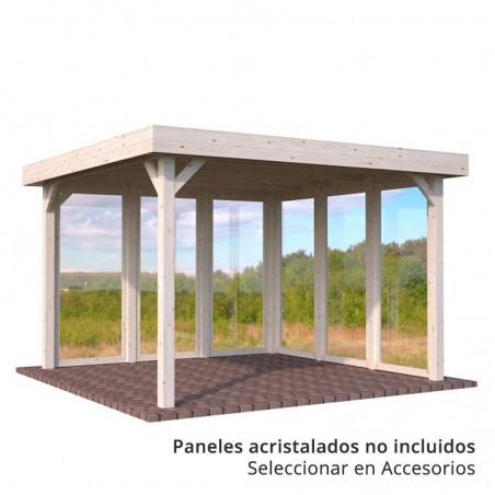 Pérgola de madera techada Lucy 349 x 349 cm. 12.2 m² con paneles acristalados