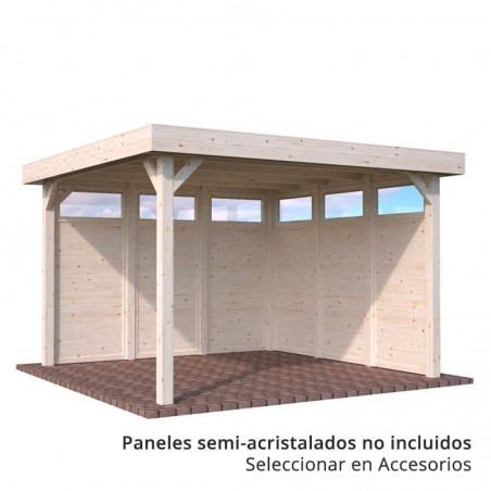 Pérgola de madera techada Lucy con paneles semi-acristalados
