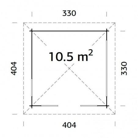 Medidas cenador de Madera Julie 330x330 cm | 10.5 m²